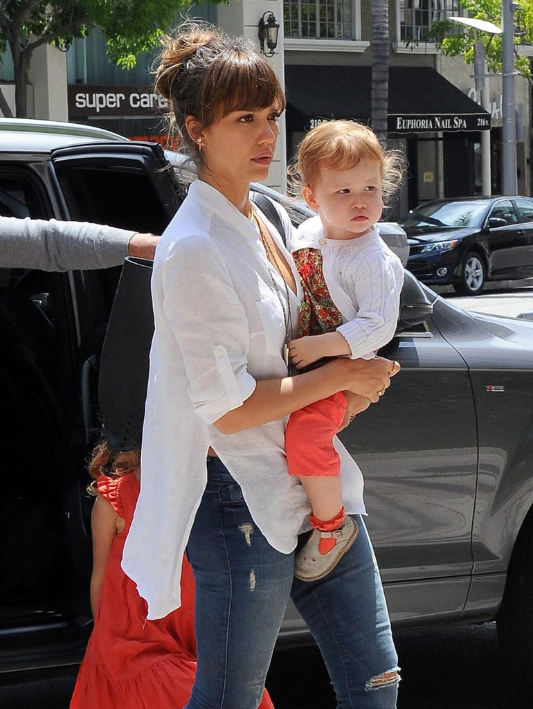 Jessica Alba went to lunch in Beverly Hills on Saturday with her daughter Haven Warren.