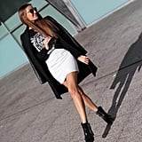 Play up a black and white palette with slick leather and a sleek miniskirt. Source: Lookbook.nu