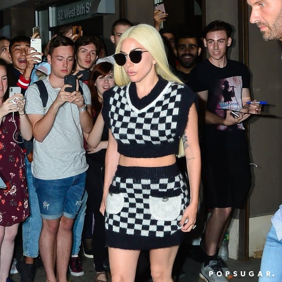 Lady Gaga's Checkered Crop Top and Skirt