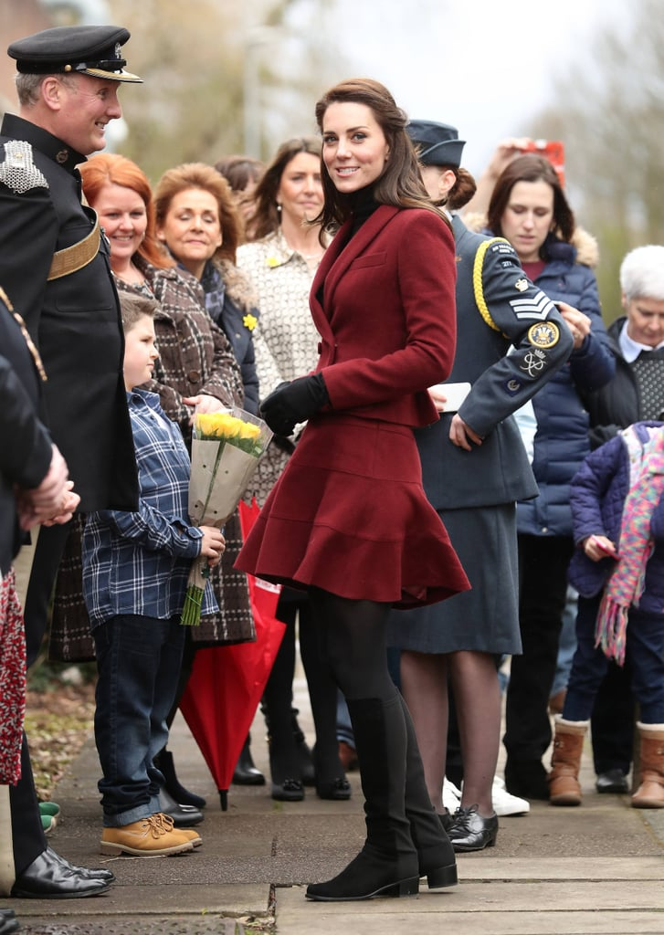 Kate Middleton Wearing Red Paule Ka Suit