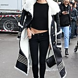 Sara Sampaio wearing a Tommy Hilfiger coat and Chanel bag.