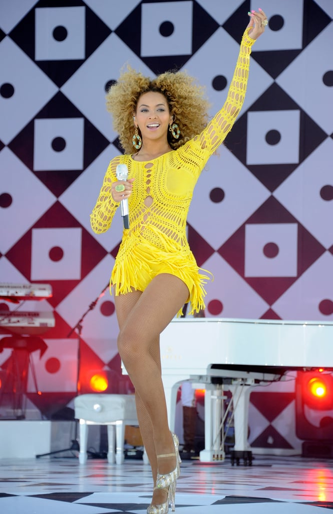 """Beyoncé Knowles was up bright and early this morning to perform in NYC's Central Park as part of Good Morning America's Summer concert series, wearing a customized Julien MacDonald dress and a multi-colored manicure! We were lucky enough to be in the crowd to see Beyoncé sing four tracks from her just-released album, 4, as well as one of her old hits —along with four dancers, she whipped the crowd into a frenzy with a hot rendition of """"Single Ladies""""! Even Jaden and Trey Smith, whose dad Will is a good friend of Beyoncé's, were in the crowd to see the amazing choreography. Beyoncé sat down between her first and second tunes to chat with ABC's Robin Roberts about her new record, respect for women, and the few months she took off from working.  Beyoncé said of her long break, """"I took my time to get to know myself. I learned how to appreciate everything I've worked hard for. And it's something my mother kept preaching to me. Hard to see when you're moving around so fast. I really learned how to appreciate my family and all of my fans. I realize all of the impact I've had on so many people, and what a blessing and how fortunate I am to be able to touch so many people."""" Today also gave our lucky I'm a Huge Fan winner the chance to meet with Beyoncé following the performance! It had been a whirlwind few days for the lucky recipient of the once-in-a-lifetime opportunity, and we can't wait to show you all the footage!"""
