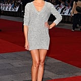 Casual Cameron in a super short Stella McCartney v-neck sequined dress. Simple black peeps roll in some elegance.