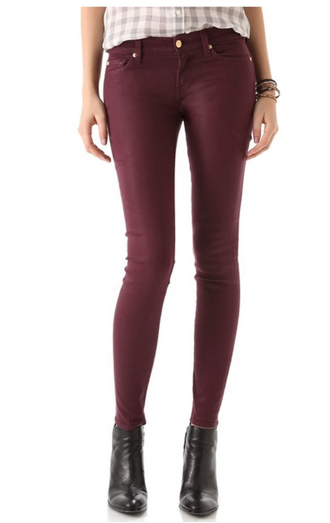 I saw a girl wearing these amazing merlot-colored waxed jeans on the subway platform (pre-Sandy), and was compelled to ask her where she got them. A quintessential girl move, they were just that good. Lo and behold, she cited these leather-like 7 For All Mankind High Shine skinny jeans ($189), and now I'm dreaming of all the ways I can wear them with my various Winter boots. — Marisa Tom, associate editor