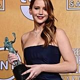 Jennifer Lawrence posed with her SAG Award.