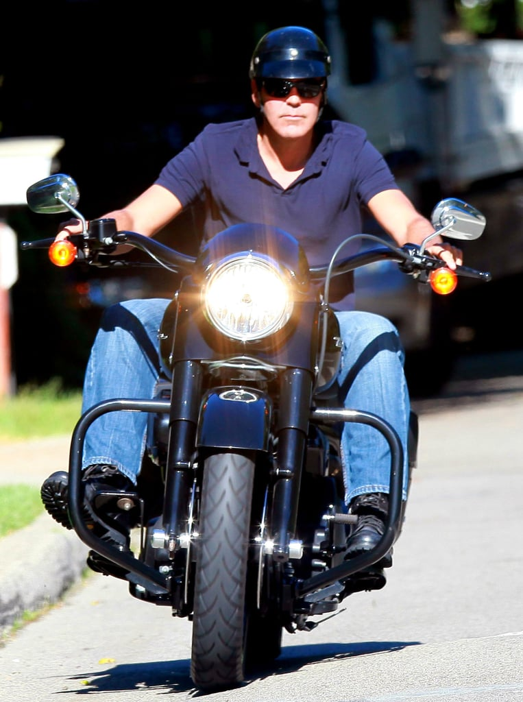 George Clooney Riding a Motorcycle in LA Pictures