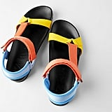 Zara Multicolored Flat Slide Sandals