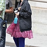 Leighton Meester was spotted on set in NYC.