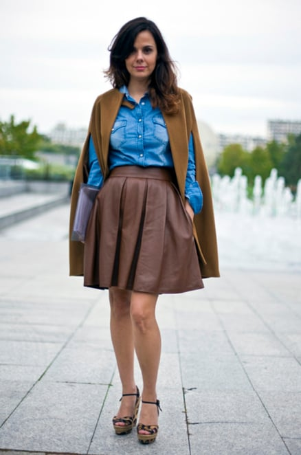 """This luxe brown style was paired with denim in Paris.  Shop the look: <iframe src=""""http://widget.shopstyle.com/widget?pid=uid5121-1693761-41&look=4084891&width=3&height=3&layouttype=0&border=0&footer=0"""" frameborder=""""0"""" height=""""244"""" scrolling=""""no"""" width=""""286""""></iframe> Photo Courtesy  of Phil Oh"""