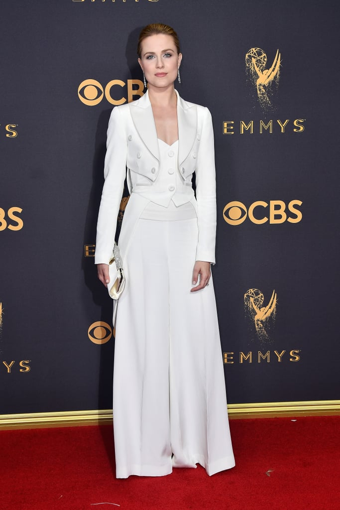 Evan Rachel Wood Wears Jeremy Scott Pantsuit Emmys 2017