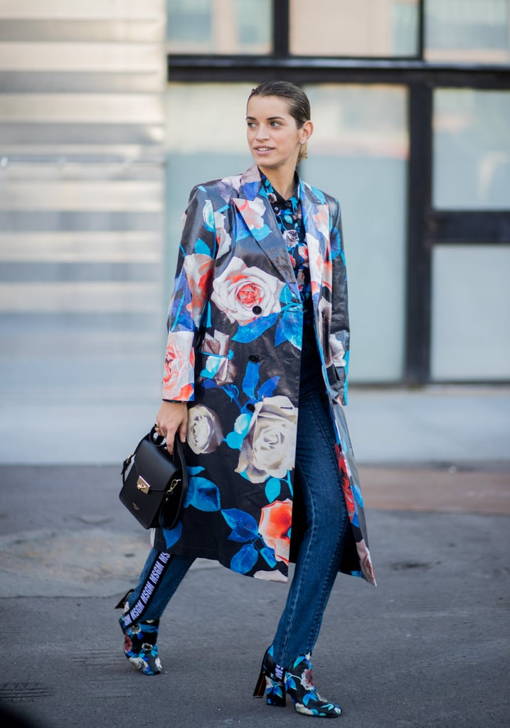 If you're wearing striking, blossoming prints, you can get away with dark wash or black skinny jeans in a more casual office environment. A pair with stirrups affixed is ideal — this will keep hemlines tucked in and polished.