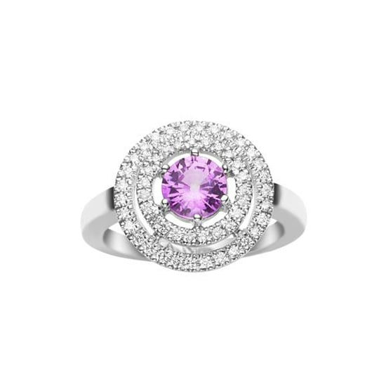 18 carat white gold pink saphire and diamond ring, $4,500, Jan Logan