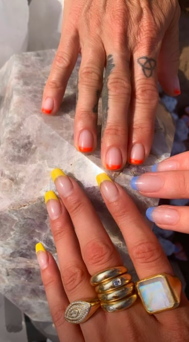 Bella Hadid's Yellow French Manicure
