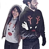 Red Nose Reindeer Graphic Matching Couple Hoodie Set