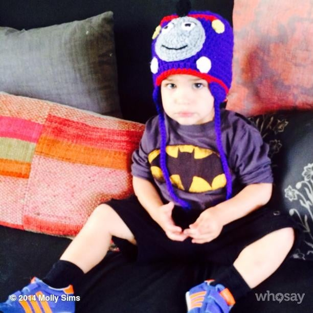 Brooks Stuber wore all his favorite things — Thomas the Tank Engine and Batman — together. Source: Instagram user mollybsims