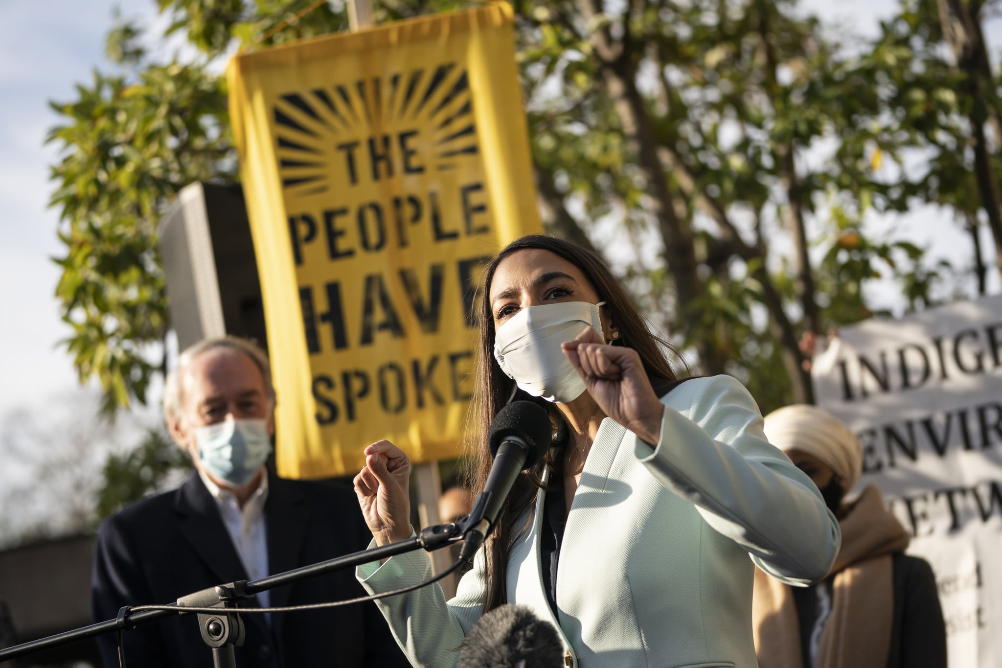 WASHINGTON, DC - NOVEMBER 19: U.S. Rep. Alexandria Ocasio-Cortez (D-NY) speaks outside of the Democratic National Committee headquarters on November 19, 2020 in Washington, DC. Rep. Ocasio-Cortez and others called on the incoming administration of President-elect Joe Biden to take bold action on issues of climate change and economic inequalities. (Photo by Drew Angerer/Getty Images)