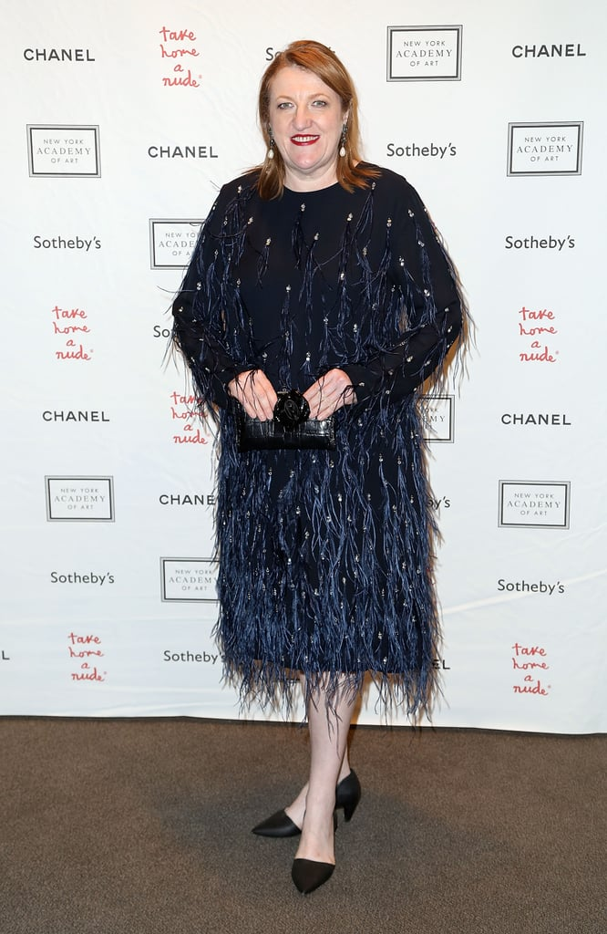 At the Take Home a Nude art auction, Glenda Bailey sparkled in her feathered cocktail number.