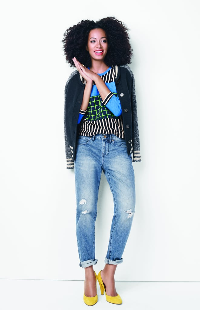 Boyfriend jeans + printed blouse + varsity jacket = the perfect back-to-school outfit.
