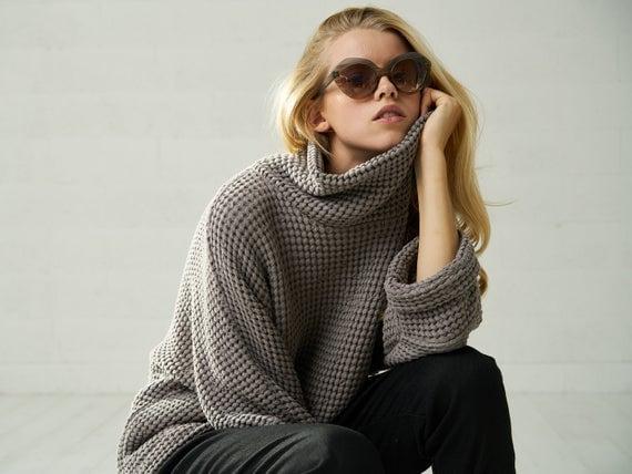 Bliss Linen Women's Chunky Oversized Fall Sweater