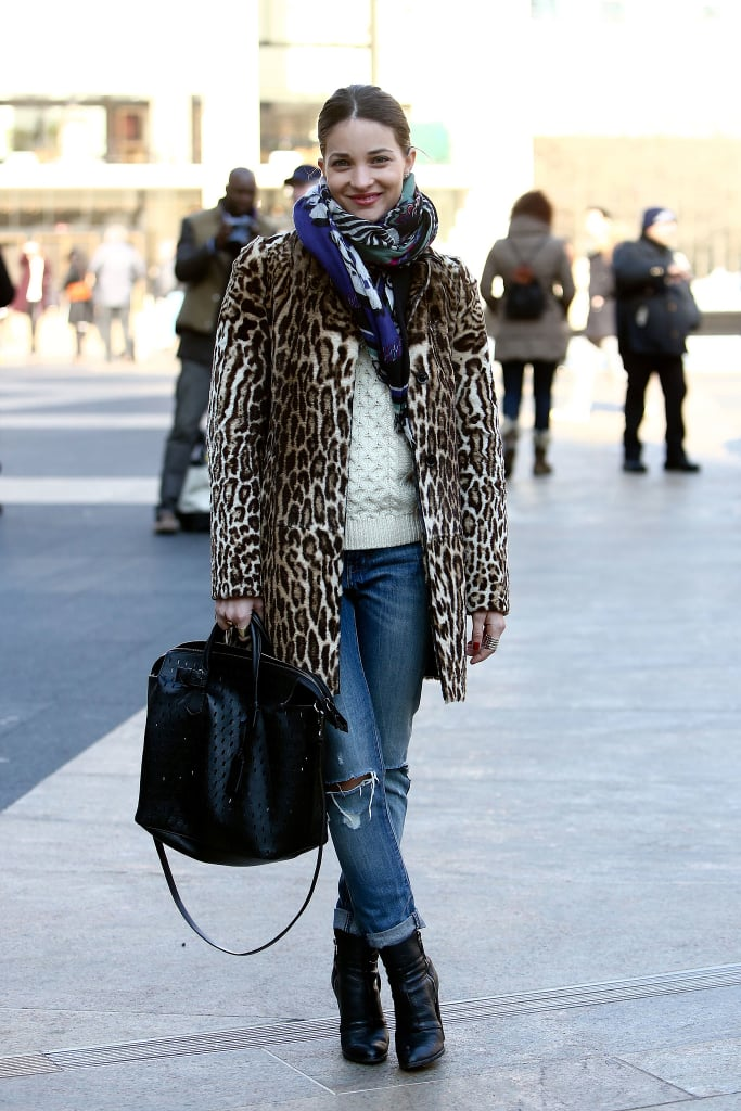 Take a page out of Elle Accessories Director Maria Dueñas Jacobs's book, and keep it casual, then use a leopard-print topper to amp up your outfit.