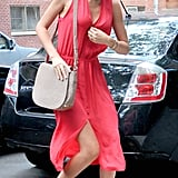 Miranda Kerr wore a sexy red dress.