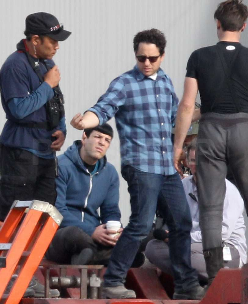 J.J. Abrams directed Zachary Quinto on set.