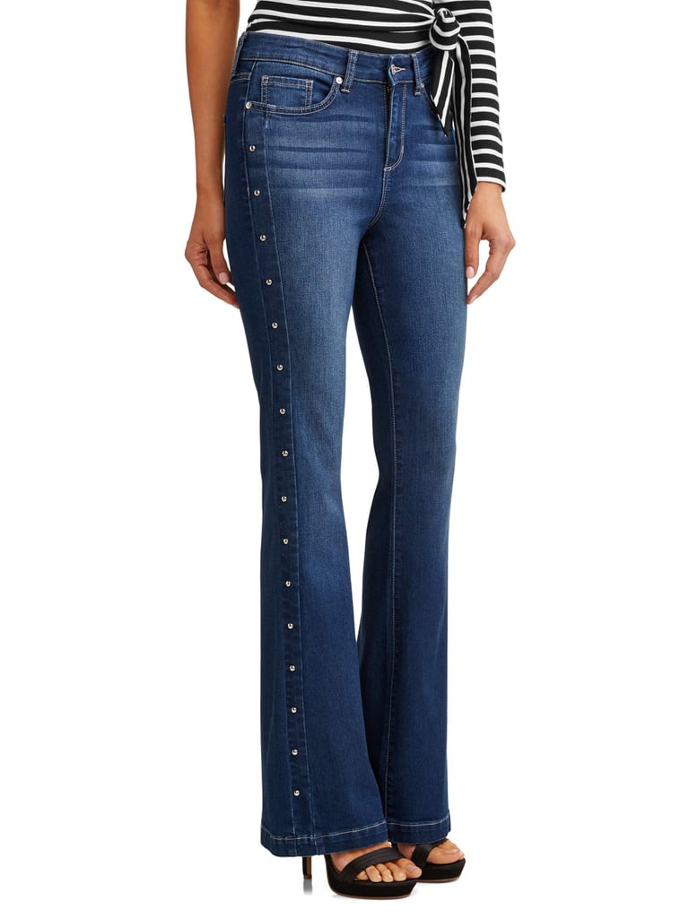 Gloria Studded Sides High Waist Stretch Flare Jean
