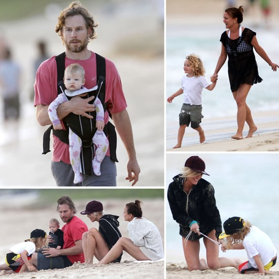 Eric and Maxwell Johnson on the Beach With Ashlee Simpson