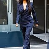 Kim Kardashian in Blue Pinstripe Suit
