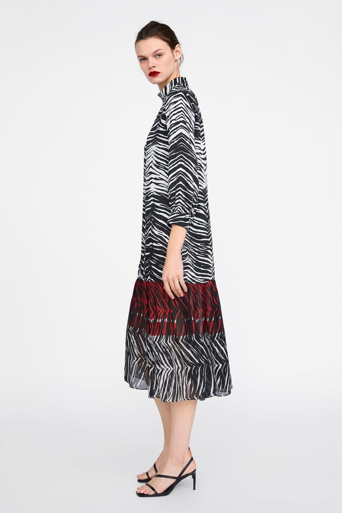 Zara Dress With Animal Print Trim