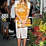 Spotted at a New York City party earlier this Summer, chronically cool Dree wore Étoile Isabel Marant's take on the trend. She dressed hers up, skipping casual bottoms in favor of a mid-slit pencil skirt, chic ankle-strap heels, and a color-coordinating clutch.