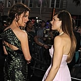 Kate Beckinsale and Jessica Biel chatted at the Total Recall premiere in LA.