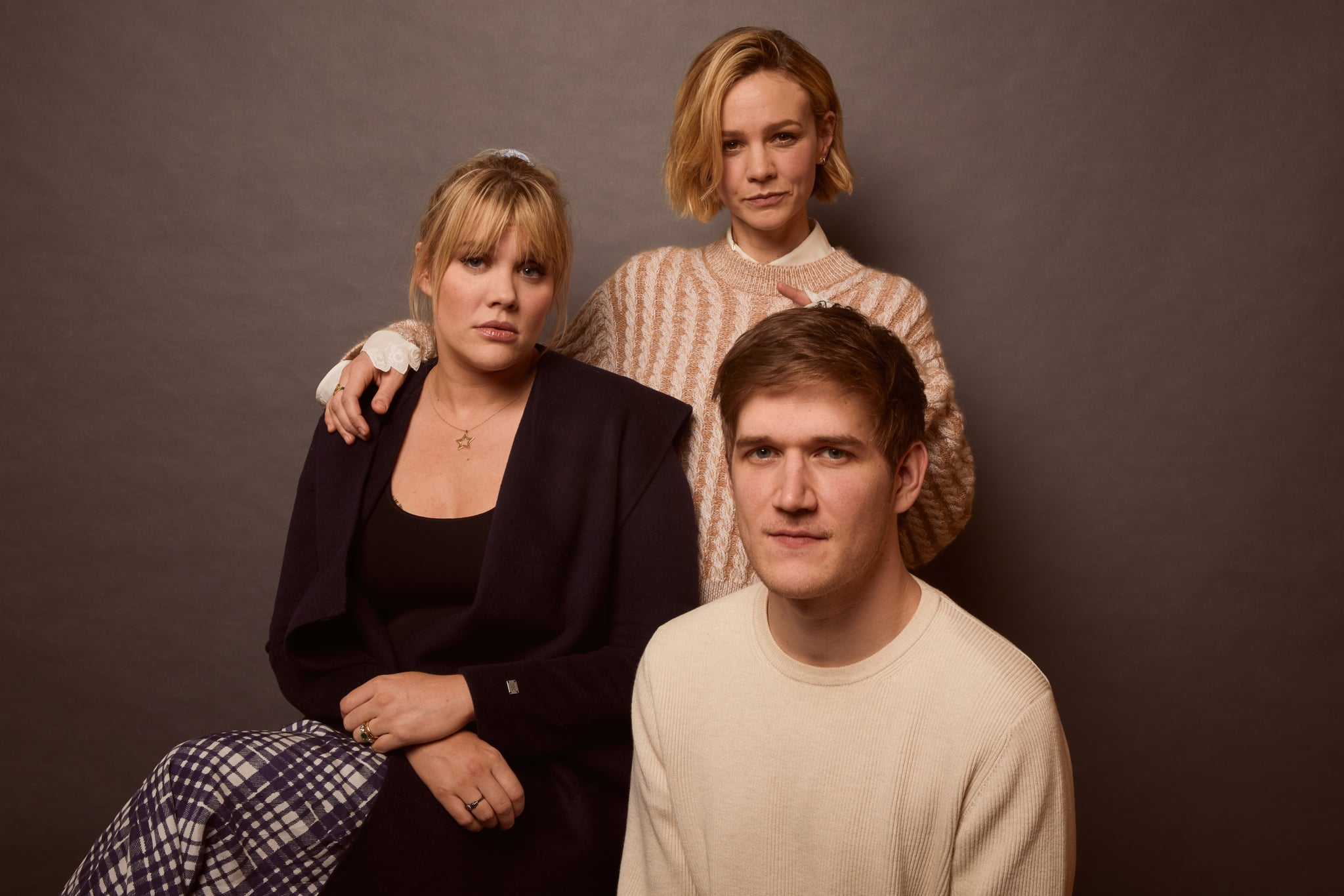 PARK CITY, UT - JANUARY 25: Emerald Fennell, Carey Mulligan, and Bo Burnham from Promising Young Woman pose for a portrait at the Pizza Hut Lounge on January 25, 2020 in Park City, Utah. (Photo by Emily Assiran/Getty Images for Pizza Hut)