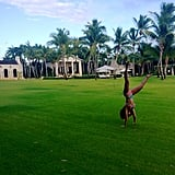 Beyoncé did a cartwheel in her bikini during a vacation abroad in July 2014.