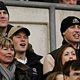 The princes got animated during a rugby match in March 2005.