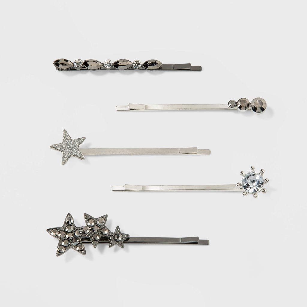 Metal Bobby Pins with Stars and Mixed Simulated Gems