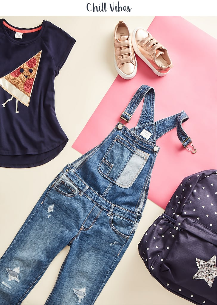 A Classic Graphic Raglan Tee ($24.95) under Denim Girlfriend Overalls ($49.95) becomes a go-to signature look for the girl who likes to keep it simple. Add personalized accessories, like a colorful necklace and a knit cap, and rotate your shoe game with classic rose gold trainers ($39.95). Confidence-boosting tip: Parents give advice to kids all the time, but sometimes sitting back and just listening, really hearing them out, can be the key to helping them release big feelings like the ones that rise up when school starts.