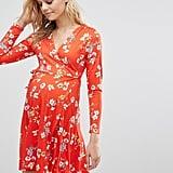 ASOS Wrap Skater Dress In Floral Print