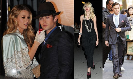 Photos of Hilary Duff, Blake Lively, Chace Crawford, Ed Westwick, and Taylor Momsen Filming Gossip Girl '20s-Style in NYC
