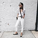 White Jeans, a White Button-Down, a Skinny Scarf, and Flats