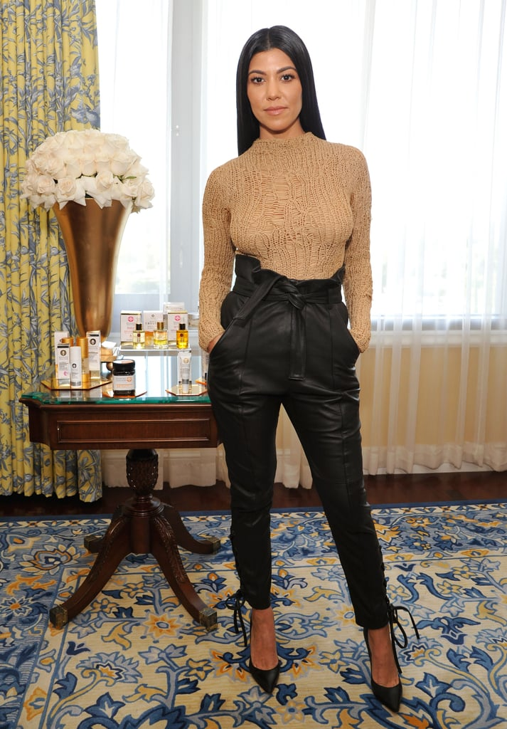 Styling a Beige Long-Sleeved Shirt and Leather Trousers