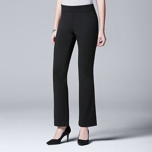 No one can ever have too many pairs of black slacks. You can dress them up and wear them at any occasion.  Simply Vera Vera Wang Ponte Bootcut Pants ($44)