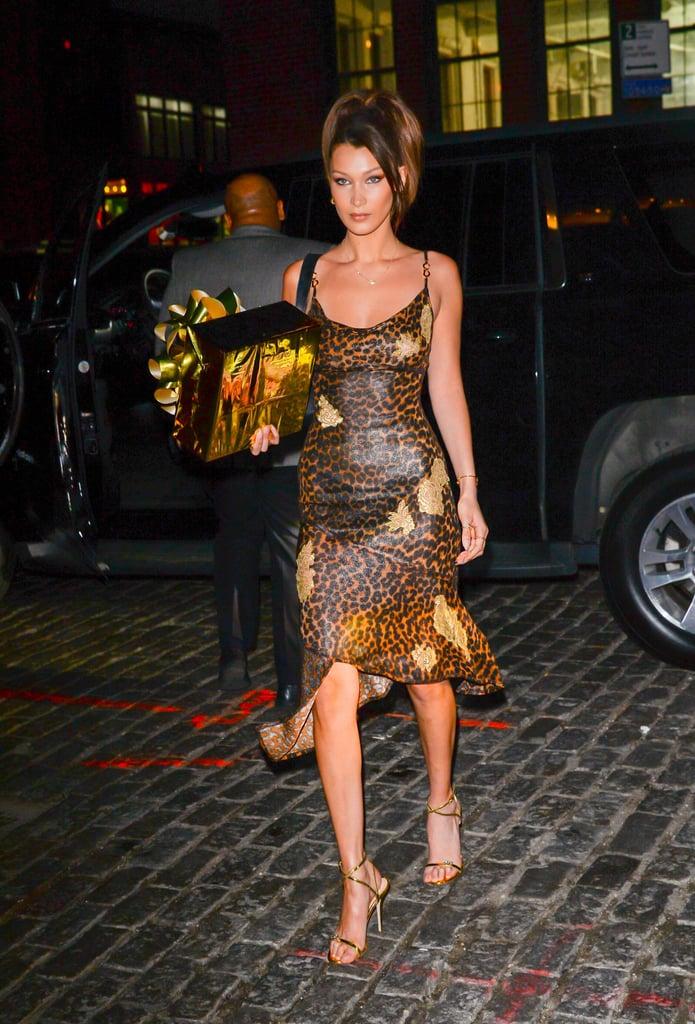 Bella Hadid Leopard Dress at Gigi's Birthday 2018