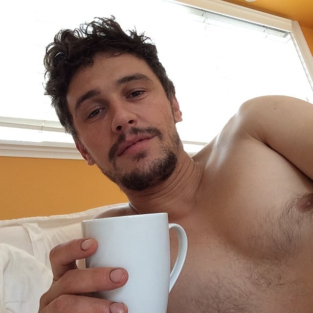 James Franco relaxed shirtless with his morning coffee after his first performance of Of Mice and Men on Broadway. Source: Instagram user jamesfrancotv