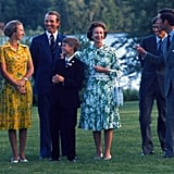 Princess Anne With Her Parents, Husband, and Brothers in Bromont, Canada, in July 1976