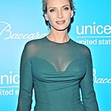 Uma Thurman rocked a sheer neckline in NYC.