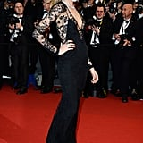 Cara Delevingne wore Burberry at the Cannes premiere of The Great Gatsby.