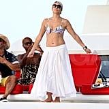 Jennifer Lopez wears a bikini on her birthday.
