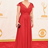 Kelly Osbourne had her Kate Middleton moment in a red dress from the duchess's beloved Jenny Packham. Her jewels were Amrapali — and her shoes just might surprise you — they're from Aldo!