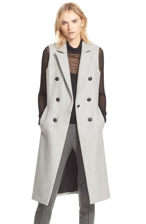 Rag and Bone Rag & Bone 'Faye' Long Double Breasted Wool Blend Vest ($575)